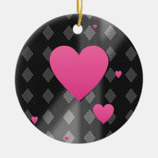 Pink Hearts on B&W Diamonds Triangles Pattern Gift Ceramic Ornament