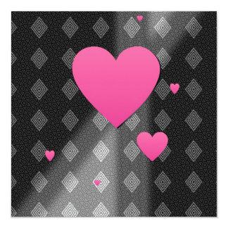 Pink Hearts on B&W Diamonds Triangles Pattern Gift 5.25x5.25 Square Paper Invitation Card