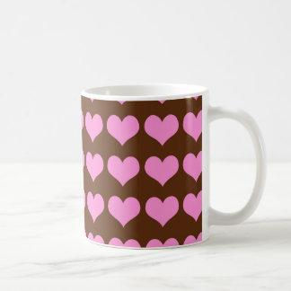 Pink Hearts on Chocolate Brown Coffee Mug