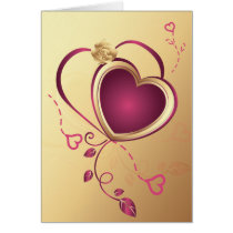 pink hearts on gold ,valentine's,love card