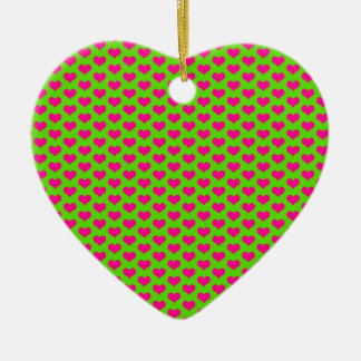 Pink Hearts on Green Ceramic Ornament