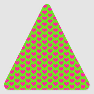 Pink Hearts on Green Triangle Sticker