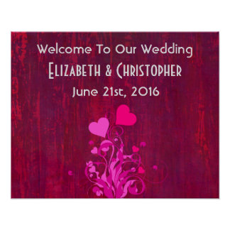 Pink Hearts on Magenta Wood Welcome to our Wedding Poster
