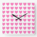 Pink hearts on white wall clock
