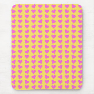 Pink Hearts On Yellow Mouse Pad