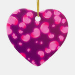 Pink Hearts Double-Sided Heart Ceramic Christmas Ornament