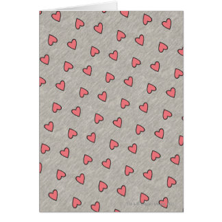 Pink Hearts over Gray Pattern Card
