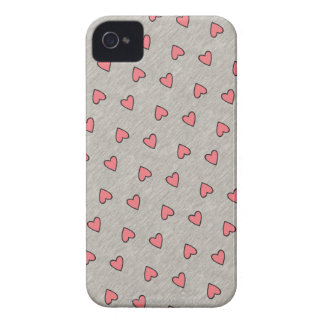 Pink Hearts over Gray Pattern iPhone 4 Case