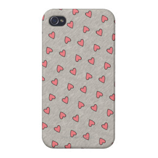 Pink Hearts over Gray Pattern iPhone 4 Cover