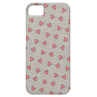 Pink Hearts over Gray Pattern iPhone SE/5/5s Case