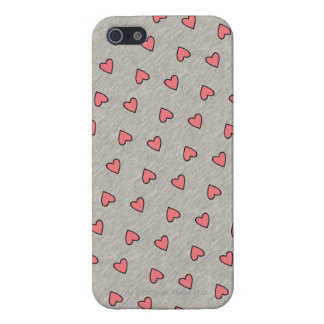 Pink Hearts over Gray Pattern iPhone SE/5/5s Cover