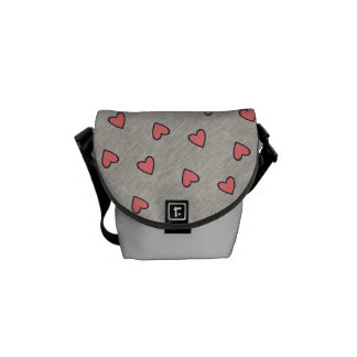 Pink Hearts over Gray Pattern Messenger Bag