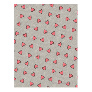 Pink Hearts over Gray Pattern Postcard