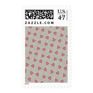 Pink Hearts over Gray Pattern Stamp