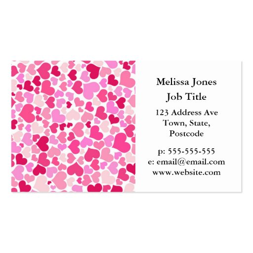 Pink hearts pattern Double-Sided standard business cards (Pack of 100)