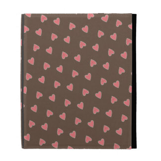 Pink Hearts Pattern iPad Folio Cases