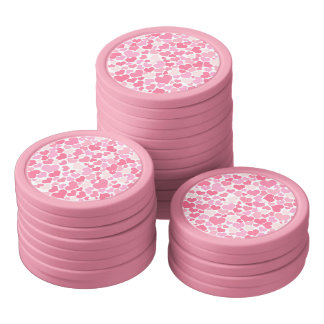Pink Hearts Pattern - Clay Poker Chips