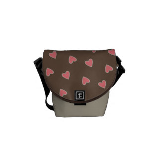 Pink Hearts Pattern Courier Bag