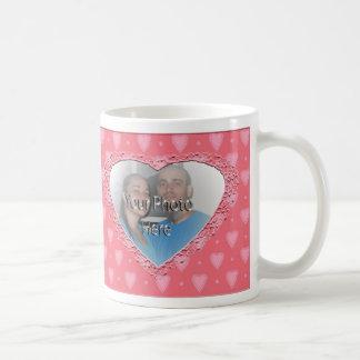 Pink Hearts Pattern Customizable Photo Mug