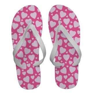 Pink Hearts Pattern Cute Girly Heart Background Flip Flops