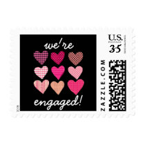 Pink Hearts Pattern Engagement Party Postage