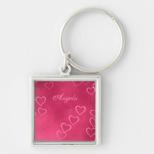 Pink hearts pattern keychain