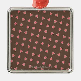 Pink Hearts Pattern Metal Ornament