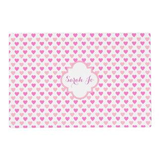 Pink Hearts Pattern Personalized Laminated Place Mat