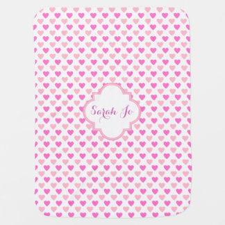 Pink Hearts Pattern Personalized Baby Blanket