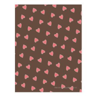 Pink Hearts Pattern Postcard