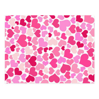 Pink hearts pattern post card