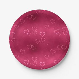 Pink hearts pattern 7 inch paper plate