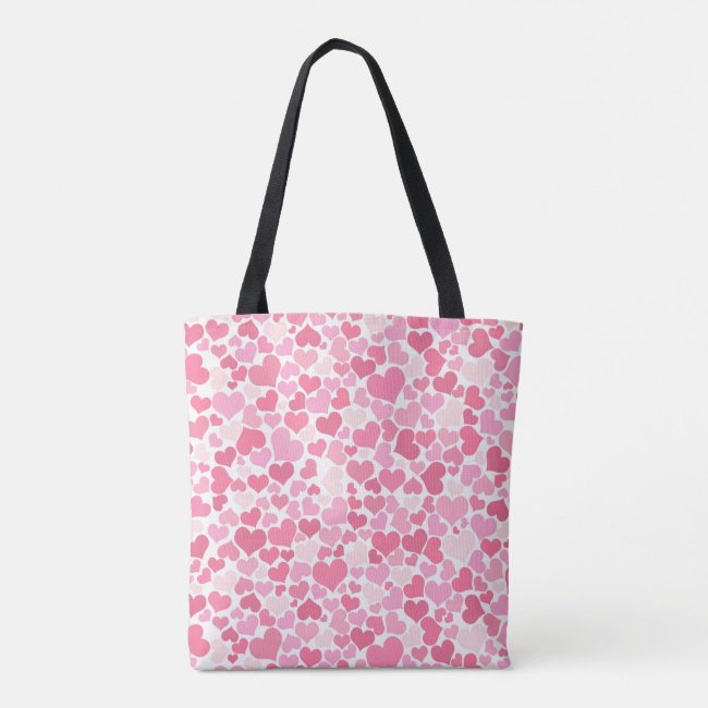 Pink Hearts Pattern Tote