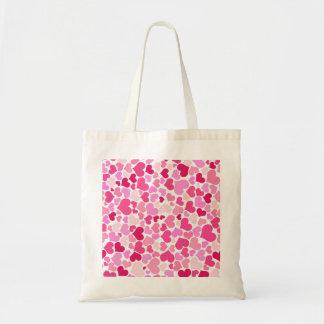 Pink hearts pattern tote bag
