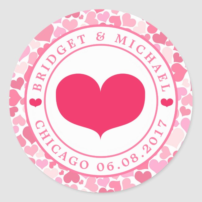 Pink Hearts Pattern Wedding Sticker