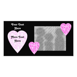 Pink Hearts. Patterned Heart Design. Card