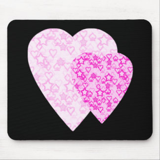 Pink Hearts. Patterned Heart Design. Mouse Pad