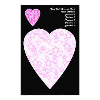 Pink Hearts. Patterned Heart Design. Personalized Stationery