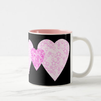 Pink Hearts. Patterned Heart Design. Two-Tone Coffee Mug