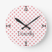 Pink Hearts Personalized Name Girly Wall Clocks