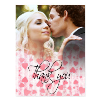 Pink hearts photo Thank You Card Post Card