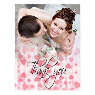 Pink hearts photo wedding Thank You Card Post Card