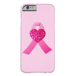 Pink Hearts Ribbon Breast Cancer Awareness Glitter Barely There iPhone 6 Case