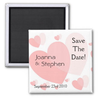 Pink Hearts Save The Date Announcement Magnet