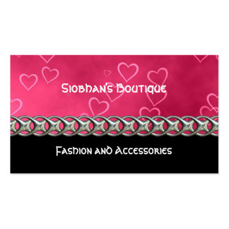 Pink hearts silver chain business card