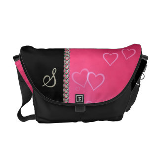 Pink hearts silver chain courier bag