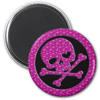 PINK HEARTS SKULL AND CROSSBONES 2 INCH ROUND MAGNET