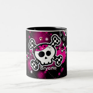 Pink Hearts Skull & Bones Girls Cup Coffee Mug