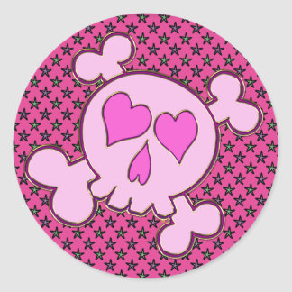 PINK HEARTS SKULL WITH STARS CLASSIC ROUND STICKER