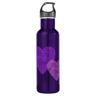 Pink Hearts Stainless Steel Water Bottle